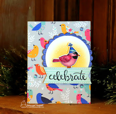 Happy Bird-Day Card by Larissa Heskett  using Newton's Nook Designs  Winter Birds, Newton Celebrates, Birthday Essentials and Frames & Flags Die Set  My Mind's Eye Well Hello 6X6 Patterned Paper, WoW Neutral Shimmer Glitter Embossing Powder