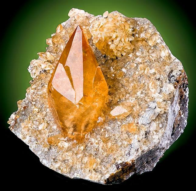 Deep Golden Calcite Perched on Dolostone