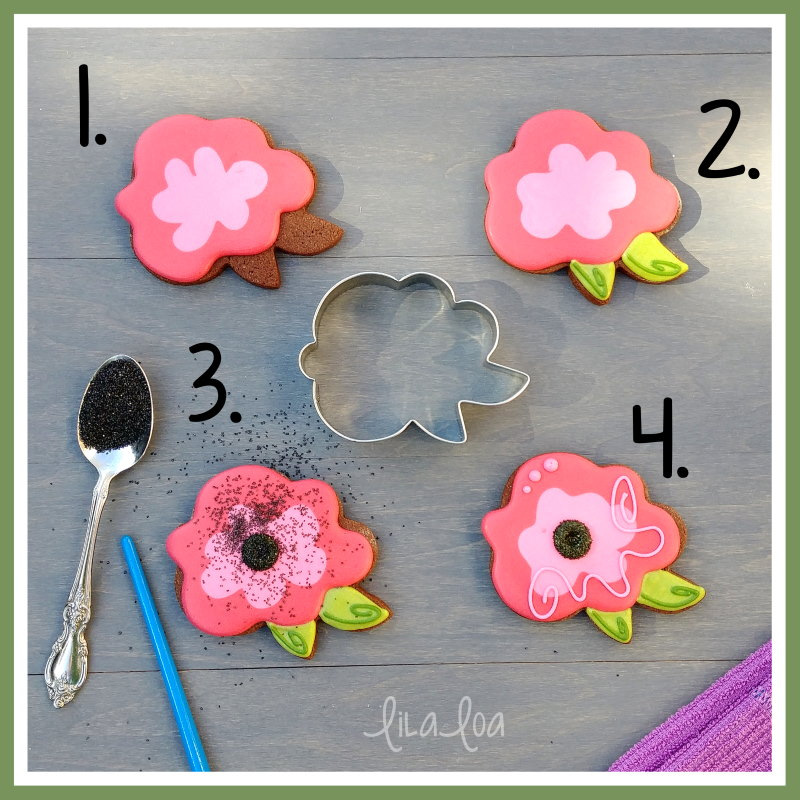 Fantasy flower or easy rose chocolate sugar cookie decorating tutorial with step by step instructions