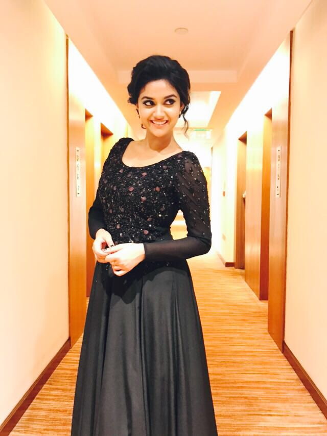Actress Keerthy Suresh Latest Cute Hot Black Dress Spicy Photos Gallery at Remo Thanks Giving Meet.