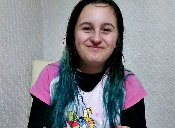 Youngest with dyed hair