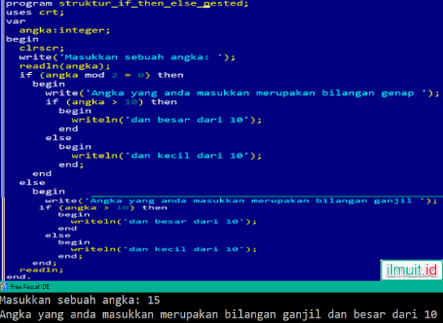 Contoh Program Nested IF Sederhana