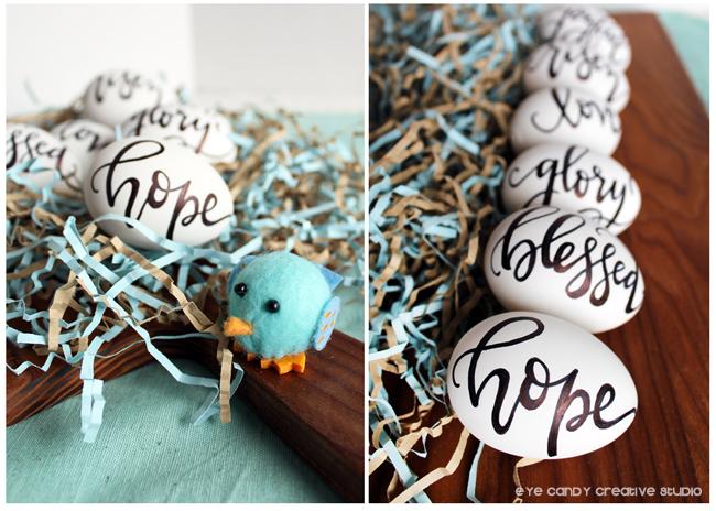 farmhouse personalized eggs, easter eggs, farmhouse decor, lettering