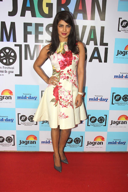 Priyanka Chopra in Floral Printed Fit and Flared Full Skirt Dress from Blumarine