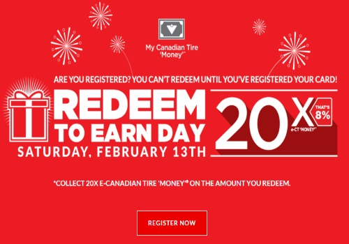 Canadian Tire Redeem To Earn Day 20x CT Money