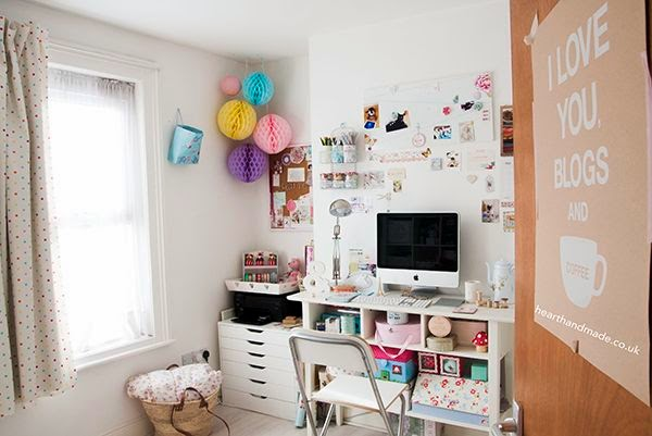 hearthandmadeuk craft room studio tour - how awesome are those ikea alex drawers and the crazy fun honeycomb party decorations! The the @apple imac looks great on that tall console table turned desk. An amazing home office makeover