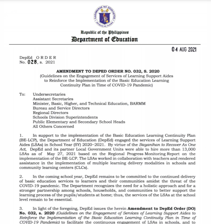 DepEd Order 028 S 2021   AMENDMENT TO DEPED ORDER NO. 032, S. 2020    AUGUST 4, 2021