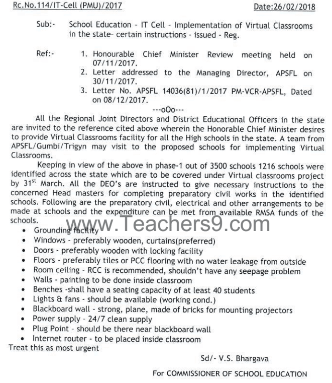 Rc.No.114 - Implementation of Virtual Classrooms in the state-certain instructions