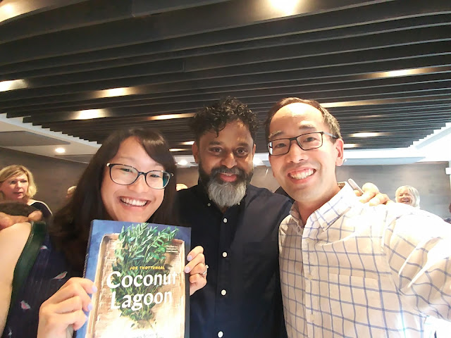 Writer (Beyond Umami) Lillian with her husband Dan and chef Joe Thottungal in between at the book launch of Coconut Lagoon