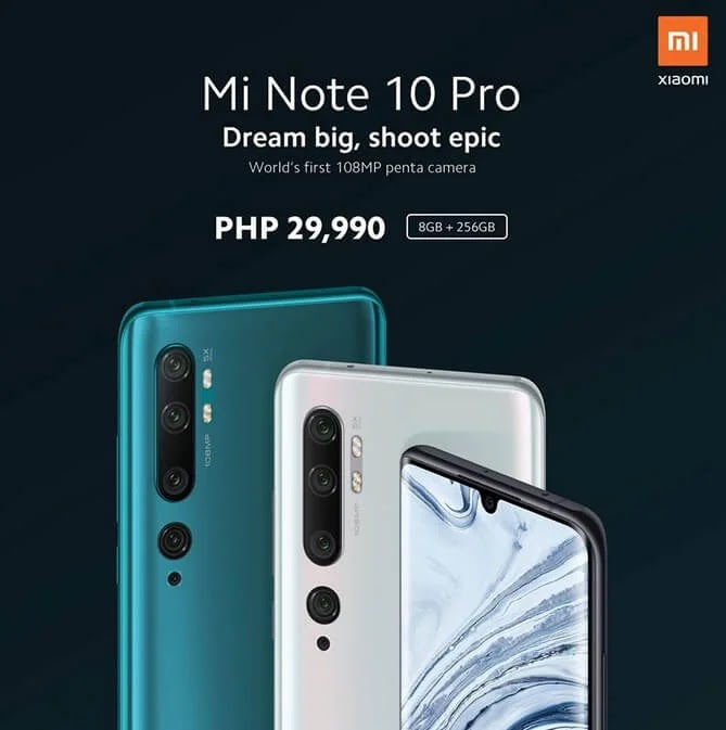 Xiaomi Mi Note 10 Pro with 108MP Penta-Cam, 8GB RAM, 256GB ROM Lands in PH for Php29,990