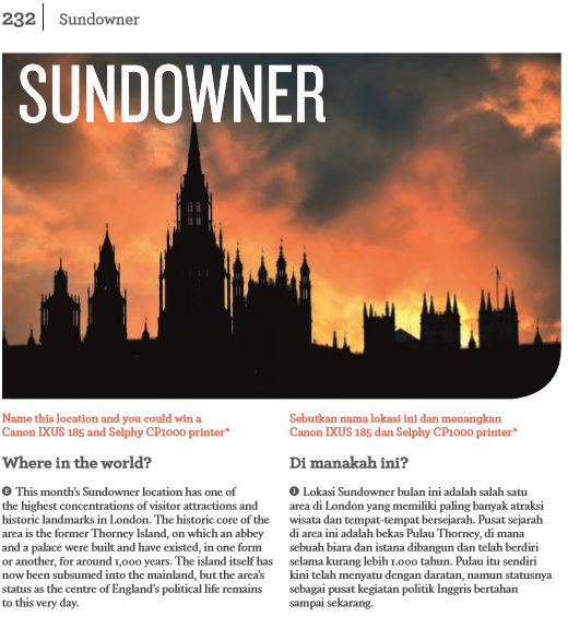 Cuplikan halaman Sundowner Majalah Colours Edisi Bulan Desember 2017