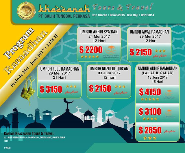 Biaya Paket Umroh Ramadhan 2017 di Jakarta