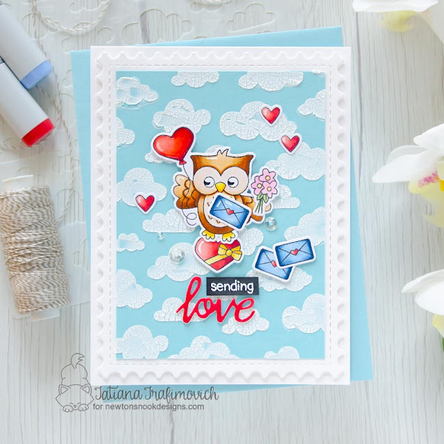 Sending Love Card by Tatiana Trafimovich | Love Owl-ways Stamp Set, Sending Hugs Stamp Set and Cloudy Sky Stencil by Newton's Nook Designs
