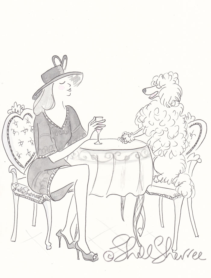 Black and White Fashionable Poodle Fashion & Fluffballs illustration  © Shell Sherree all rights reserved