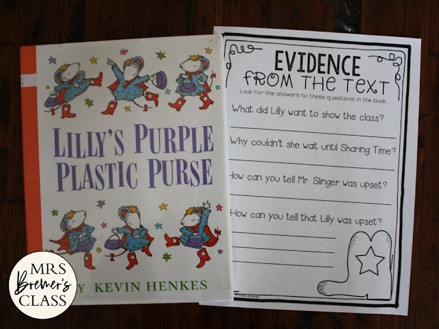 Lilly's Purple Plastic Purse book study activities unit with Common Core aligned literacy companion activities and a craftivity for Kindergarten and First Grade