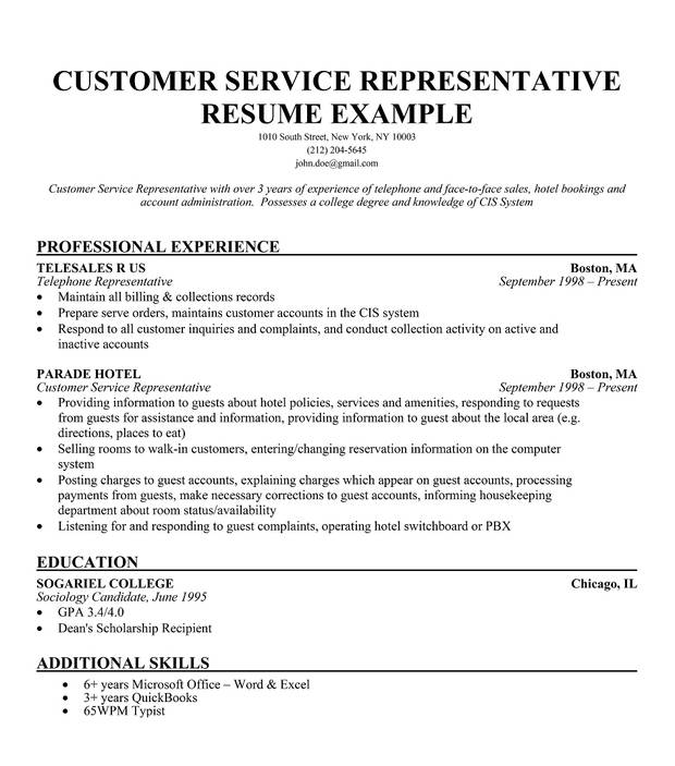 Free Resume Samples For Customer Service Sample Resumes
