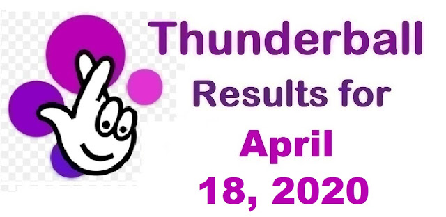 Thunderball Results for Saturday, April 18, 2020