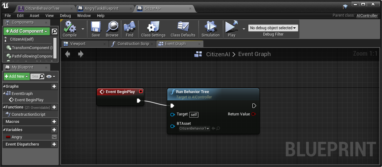 Behavior tree basic tutorial for rpg citizen game engine bread run behavior tree there is not even blackboard in this tutorial but you can see how to use blackboard in official ue4 document malvernweather Gallery