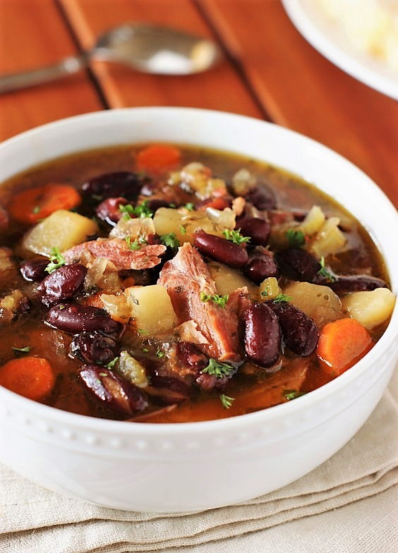 Slow Cooker Ham Kidney Bean Soup The Kitchen Is My Playground