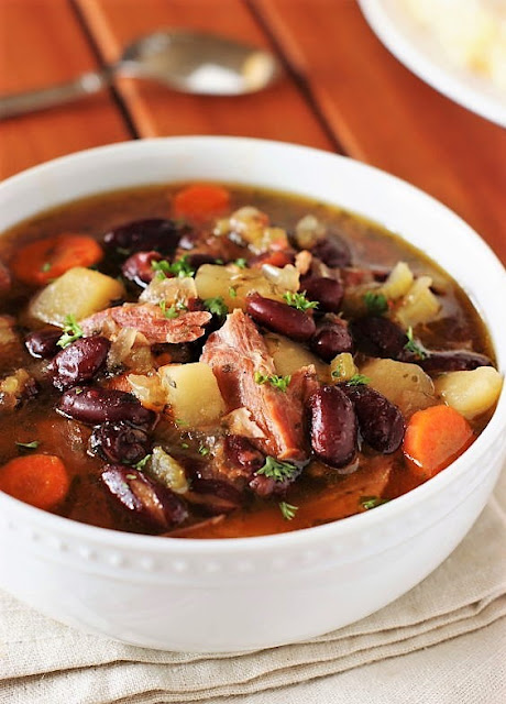 Bowl of Slow Cooker Ham & Kidney Bean Soup Image