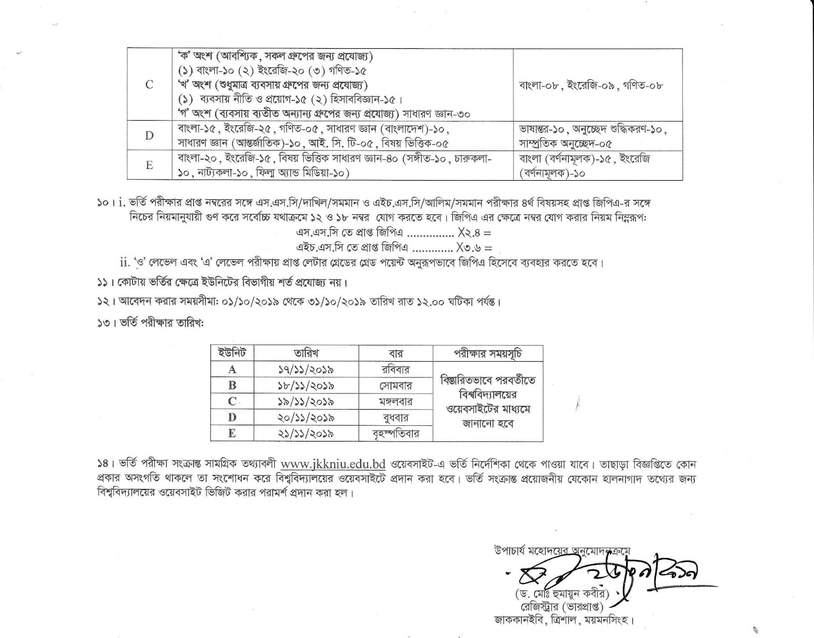Kazi Nazrul Islam University Admission Circular 2019- 20 Pdf Download