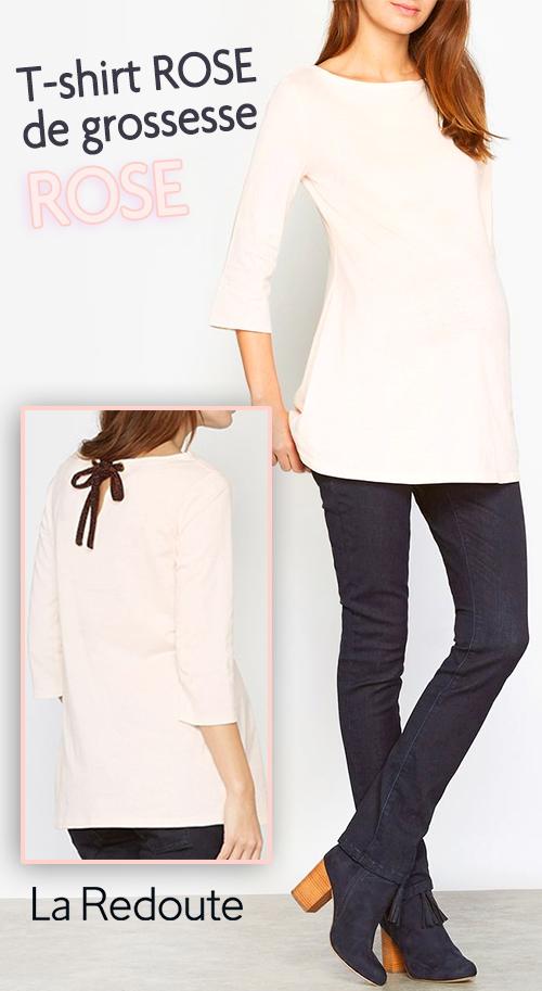 T-shirt femme enceinte rose pâle manches longues évasées La Redoute