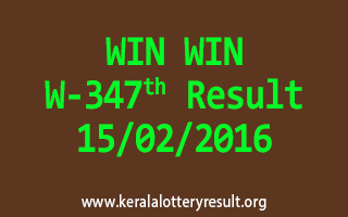 WIN WIN W 347 Lottery Result 15-02-2016
