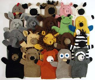 hand, puppet, knit, pattern, menagerie, farm, pets, safari, woodland, chicken, cow, horse, pig, sheep, bunny, cat, dog, frog, parrot, elephant, giraffe, lion, monkey, zebra, bear, deer, fox, owl, raccoon