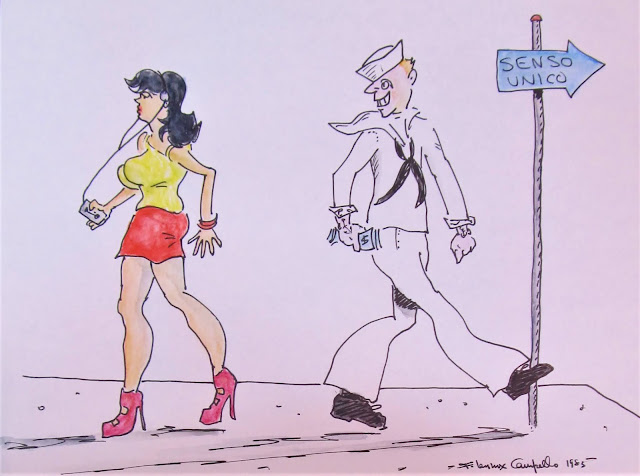 Sailor in Naples Eyeing Italian Girl - A 1983 cartoon by F. Lennox Campello