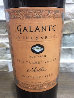 2012 Galante Vineyards Ace High Malbec label