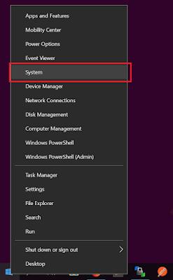 Klik Kanan Windows Logo > Pilih System