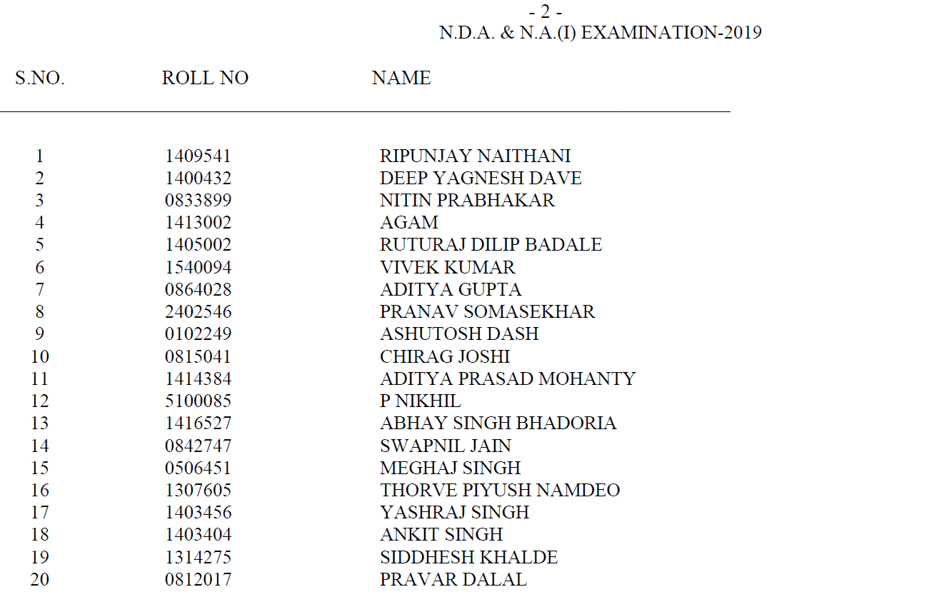 UPSC NDA NA Exam 2019 Final Result