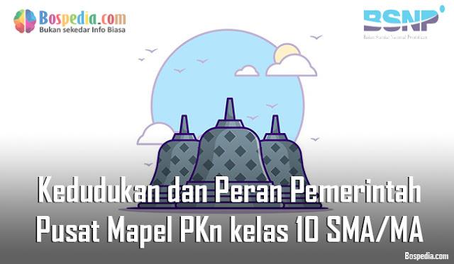 Materi Kedudukan dan Peran Pemerintah Pusat Mapel PKn kelas 10 SMA/MA