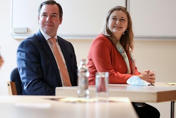 Hereditary Grand Duke Guillaume and Hereditary Grand Duchess Stephanie. Hobbs kaley red jacket, Paule Ka round neck cropped jacket