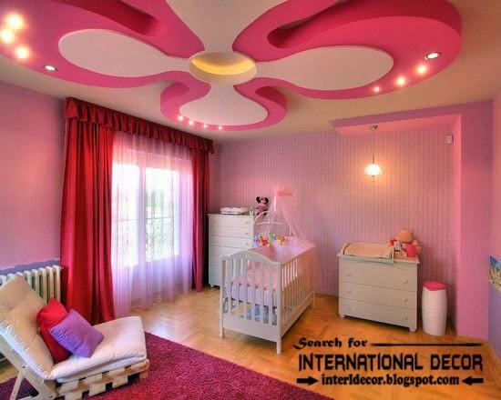multi-level plasterboard ceiling designs for nursery, pink ceilings