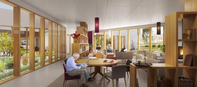 Perspective 3D d'EHPAD - salle de repos