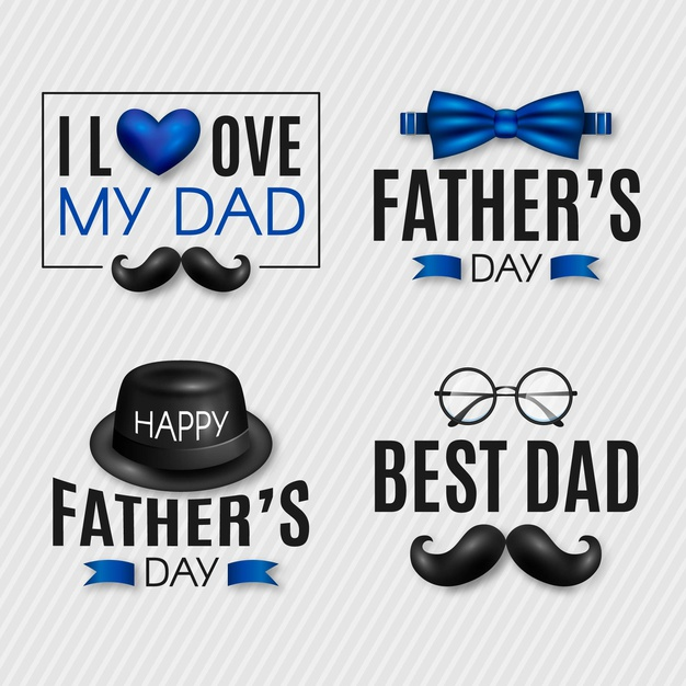 Realistic fathers day badges collection Free Vector