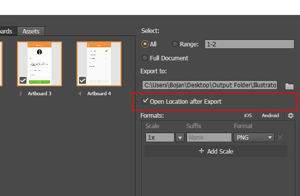 Open location after export