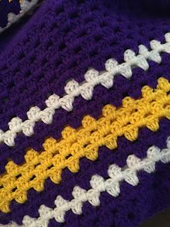 Purple Yellow white team colors yarn