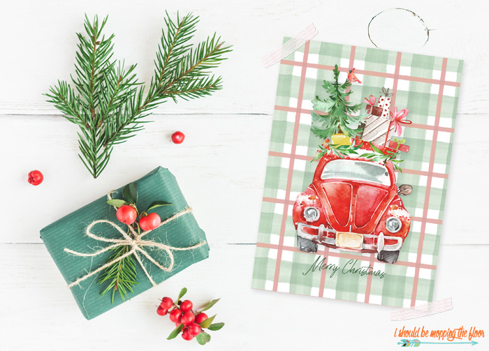 Red Car Christmas Printable