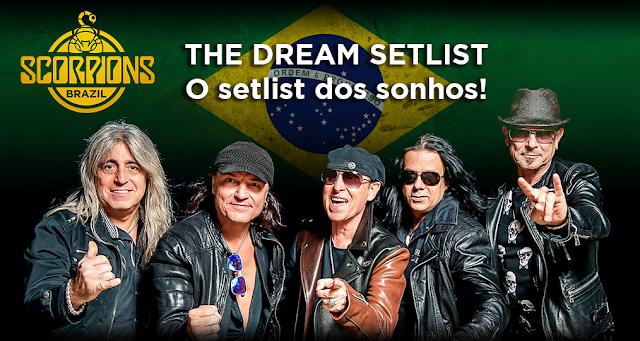 Foto da banda com montagem da bandeira do Brasil ao fundo. Logo do Scorpions Brazil no canto superior esquerdo e o título The Dream Setlist: o Setlist dos sonhos!