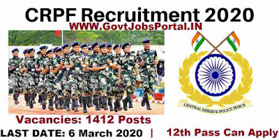 CRPF Head Constable Recruitment Notification 2020