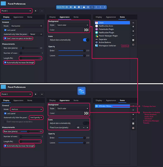 kali customization 3 panel settings