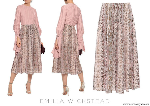 The Countess of Wessex wore Emilia Wickstead Richie pleated snake-print silk midi skirt