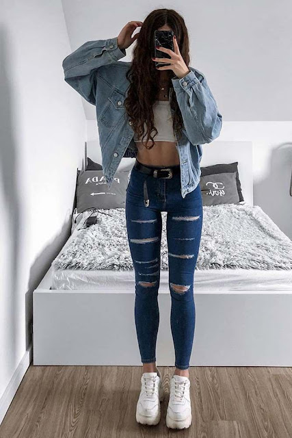 outfits con jeans y chaqueta denim