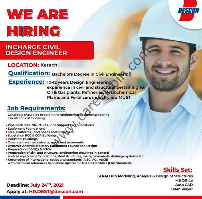 Descon Engineering of Pakistan Latest New Jobs July 2021