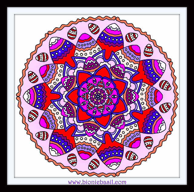 Mandalas on Monday ©BionicBasil® Colouring With Cats Mandala #98 coloured by Cathrine Garnell