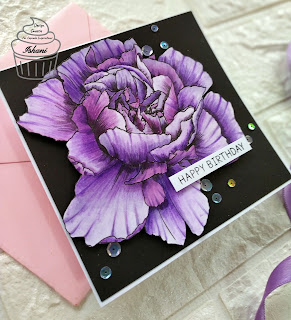 Floral Digital stamp card, Copic coloring floral stamps, CIC, Rachel Vass designs, Digital stamps, Birthday card, floral card, Quillish,