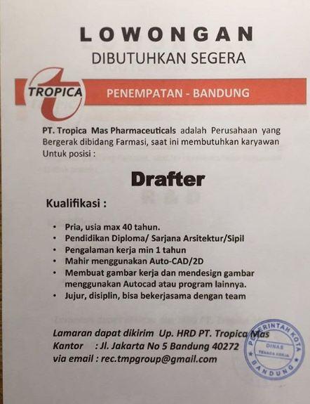 Lowongan Kerja PT. Tropica Mas Pharmaceutical