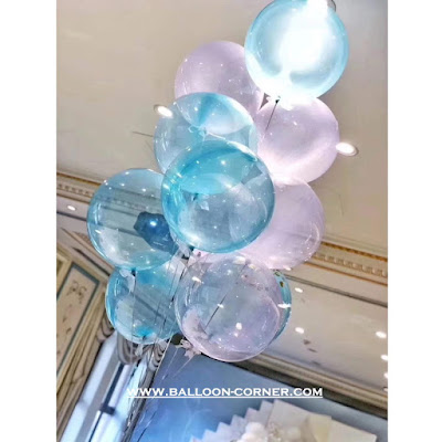 Balon Gas Helium Dari Balon PVC Transparan Warna / Balon Bubble Warna